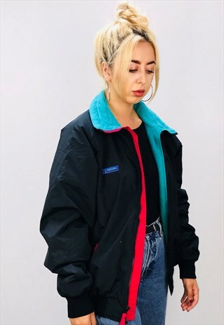 VINTAGE 90S COLOUR BLOCK COLUMBIA FLEECE LINED COAT