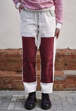 Handmade Trousers in Off White and Pink With Corduroy Fabric