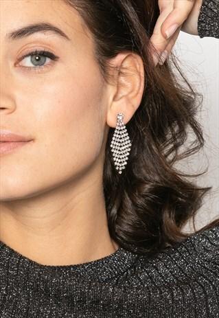 DIAMOND EARRINGS WITH CRYSTAL RHINESTONES