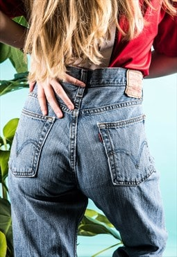 Vintage Levi's 527 Mom Jeans in Blue Denim with Rips