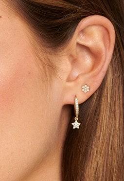 Gold Tiny Flower Stud Earrings, 2 Sparkling Flower Studs