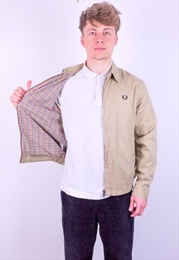 Vintage Fred Perry Check Lined Harrington Jacket in Beige