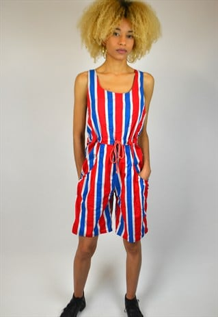 VINTAGE 90'S STRIPED DUNGAREE STYLE PLAYSUIT