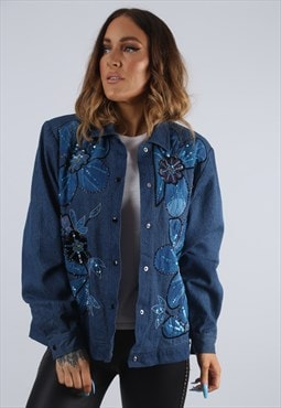 Vintage Denim Jacket Floral Sequin Beaded UK 12 M (JBE)