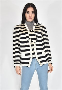 VINTAGE multicolored double-breasted striped cardigan