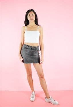 Vintage 90s Denim Skirt Y2K Dark Grey Mini