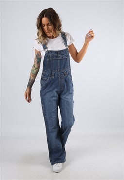 Denim Dungarees Wide Flared Leg UK 12 Medium (C92D)