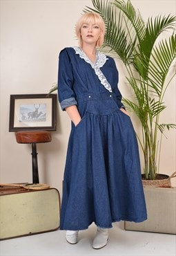 Vintage 90s Heavy Denim Maxi Dress Blue