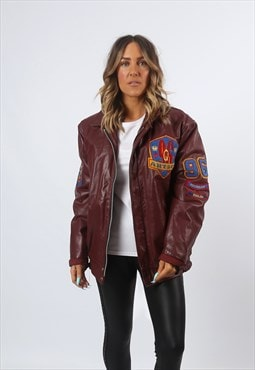 Leather Bomber Jacket Oversized VARSITY UK 14 - 16 (HH1U)