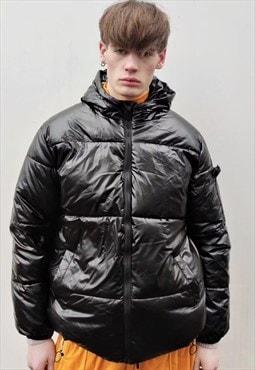 Hooded short bomber Korean coat quilted puffer jacket black