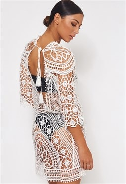 Giana White Crochet Beach Cover Up