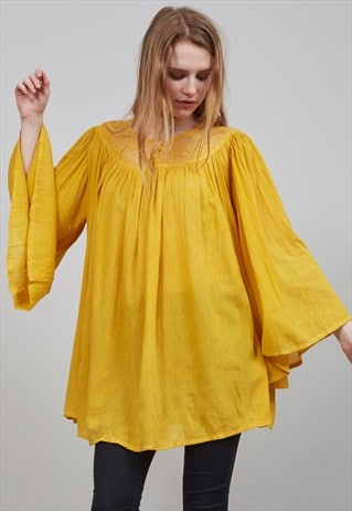 VINTAGE 60'S YELLOW BELL SLEEVED INDIAN COTTON BLOUSE