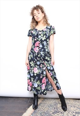 Vintage 90s Dark Floral Print Midi Button Dress