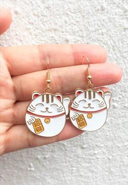 Handmade chubby Cat earring