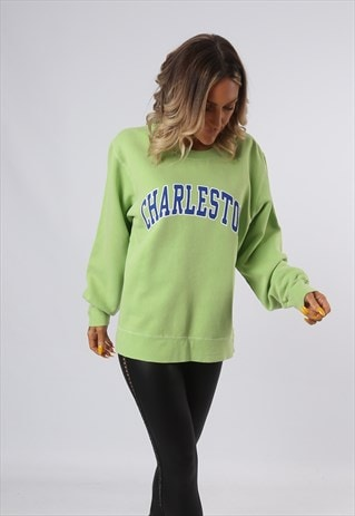 SWEATSHIRT JUMPER OVERSIZED CHARLESTON LOGO UK 16  (O4S)