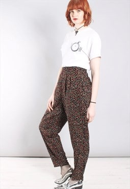 Vintage 80s High Waist Trousers in Spotty Pattern