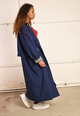 90's retro navy blue minimalist long parka coat