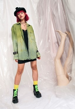 Vintage denim shirt Y2K reworked slime green tie-dye top