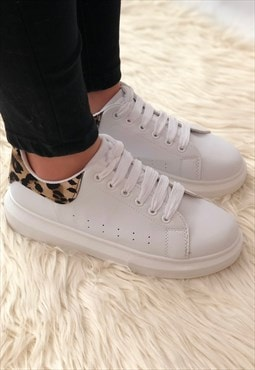 Chunky white leopard print trainers