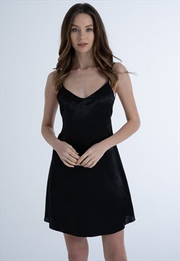Women Satin Little Black Dress With Lowback