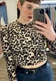 Vintage Inspired Crop Top Long Sleeve with Leopard Print