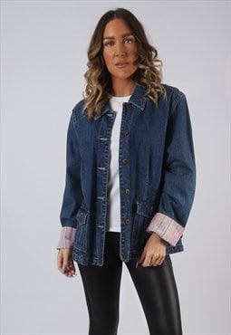 Denim Jacket Oversized STRIPED Fitted Vintage UK 16 (LW3F)