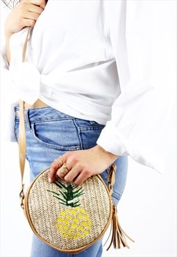 Pineapple Woven Crossbody Tassel Round Bag