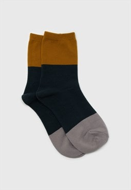 Teal and mustard triple colorblock socks