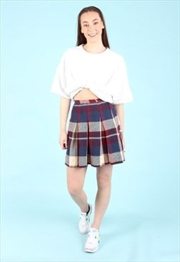 Vintage 90's Checked Skirt Blue / Red