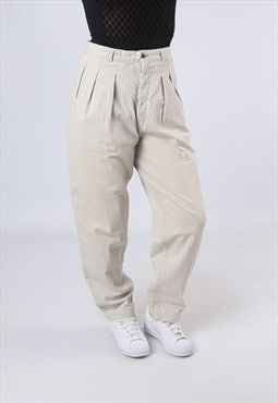 High Waisted Trousers Plain Wide Tapered UK 12 (GK3L)
