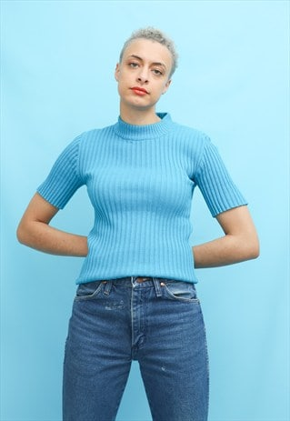 60S 70S VINTAGE BLUE RIBBED KNIT MOD TOP