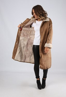 Sheepskin Suede Leather Shearling Coat UK 12 Medium (LJ3L)
