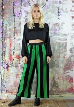 Crop Trousers in Green and Black Stripe