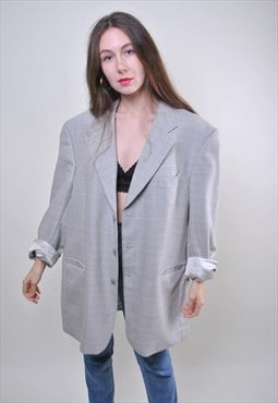 Wool woman vintage oversize grey blazer jacket