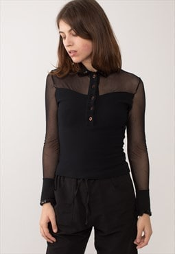 Black Glam Transparent Stretchy Shirt