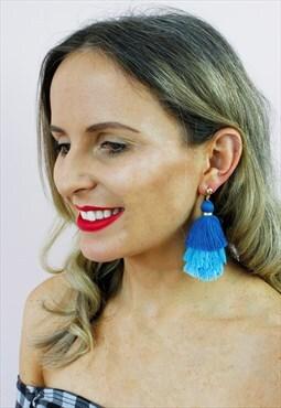 Blue Ombre Tassel Fringe Drop Chandelier Earrings