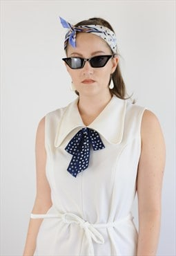 Womens Vintage 70s dress white blue pussy bow pointy collar