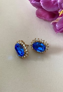 Statement Gold Tone Faux Sapphire Crystal Diamante Earrings