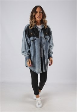 Denim Shirt Cowboy Oversized Fitted Vintage UK 18-20  (DK4A)