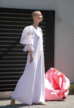 White dress, White maxi dress, dress, designer dress,plus si