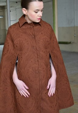 Vintage Brown Elegance Cape Coat