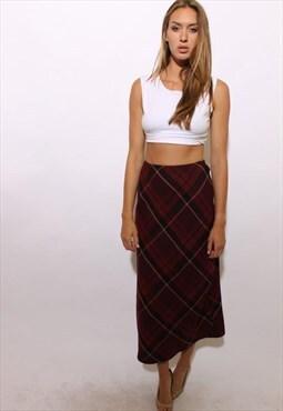 vintage 1990's 90's plaid maxi skirt tartan full length S-M