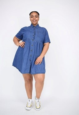 Vintage 90's Denim Collared Dress With Pocket