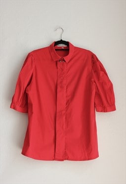 Vintage Red Embroidered Puff Sleeve Shirt