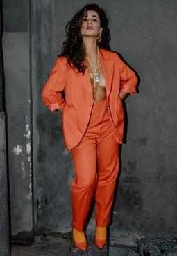 VINTAGE 80s Marella orange Blazer and Trousers suit