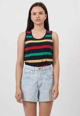 Vintage Black Red Green LACOSTE Crew Neck Striped Tank Top