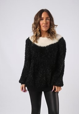 Knit Knitted Jumper Wool Oversized Sparkle Long UK 16 (GW2Y)