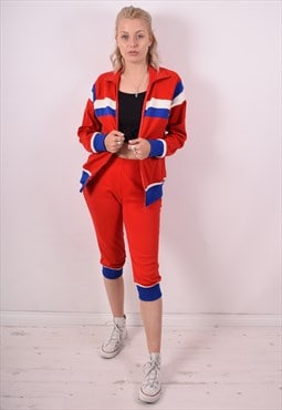 Womens Vintage Full Tracksuit Large Red Stripes 90s