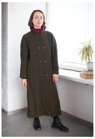 VINTAGE DOUBLE BREASTED RED COLLAR WOOL COAT IN KHAKI