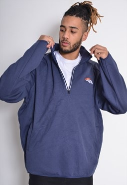 Vintage Denver Broncos 1/4 Zip Sweatshirt Blue